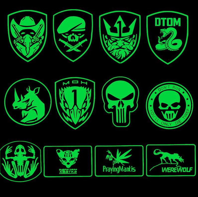 Luminous PVC Patch Glow In Dark Rubber Patches Military Hook Back Swat OPS Patches Tactical Emblem Applique Combat Badges