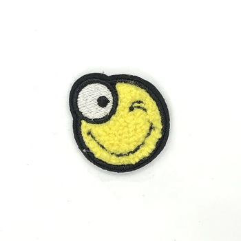 Wholesale embroidered expression sew on chenille patch for cloth