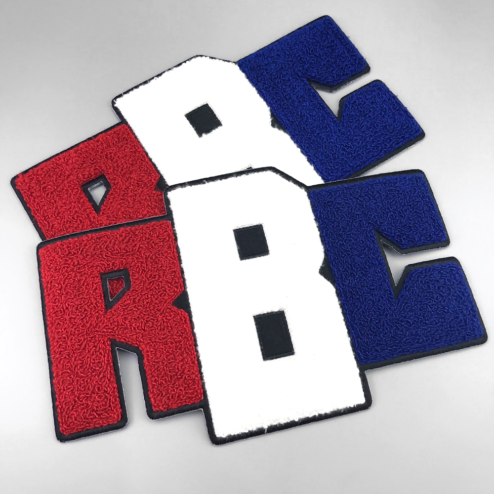 Custom university letters, towelling embroidery patch letters