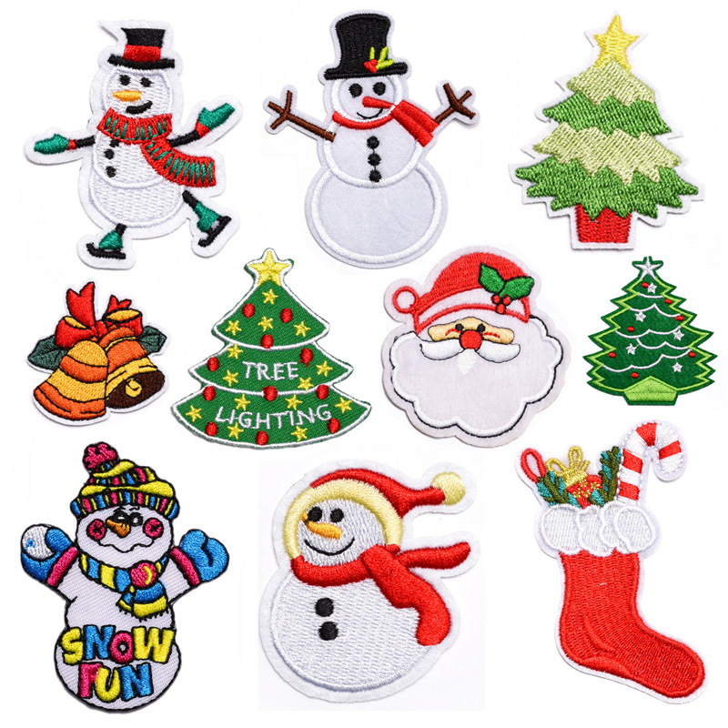 Cartoon Christmas Tree Santa Embroidery Patch Iron-On Patches For Clothing Stickers Garment accessories Wholesale