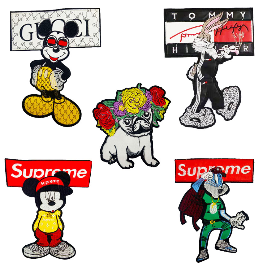 New clothing accessories embroidery cartoon mouse rabbit sand dog patch trend ironing cloth Decal