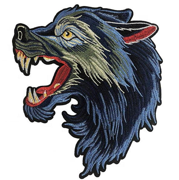 Customized Ice Hockey Embroidery Patch Large Crest Wolf Patch