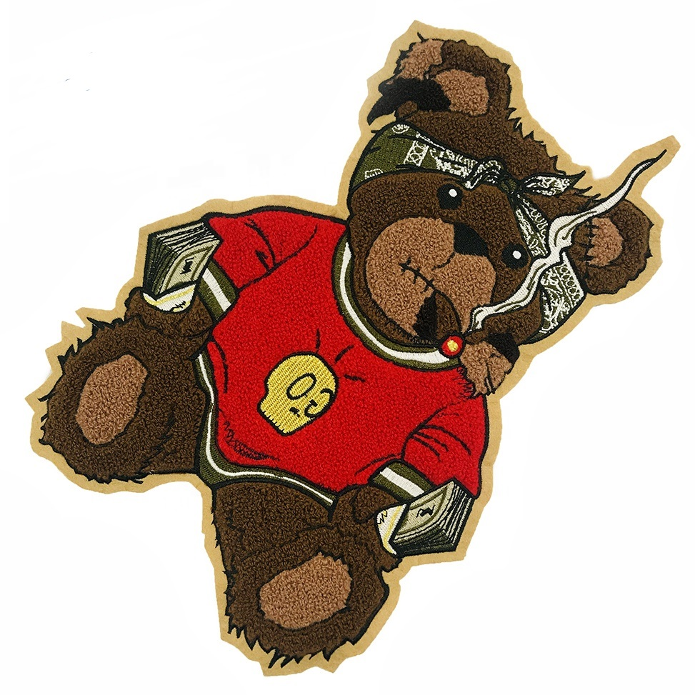 Chenille Cartoon Bear Embroidery Patch customized large size 32*21CM embroidery patch