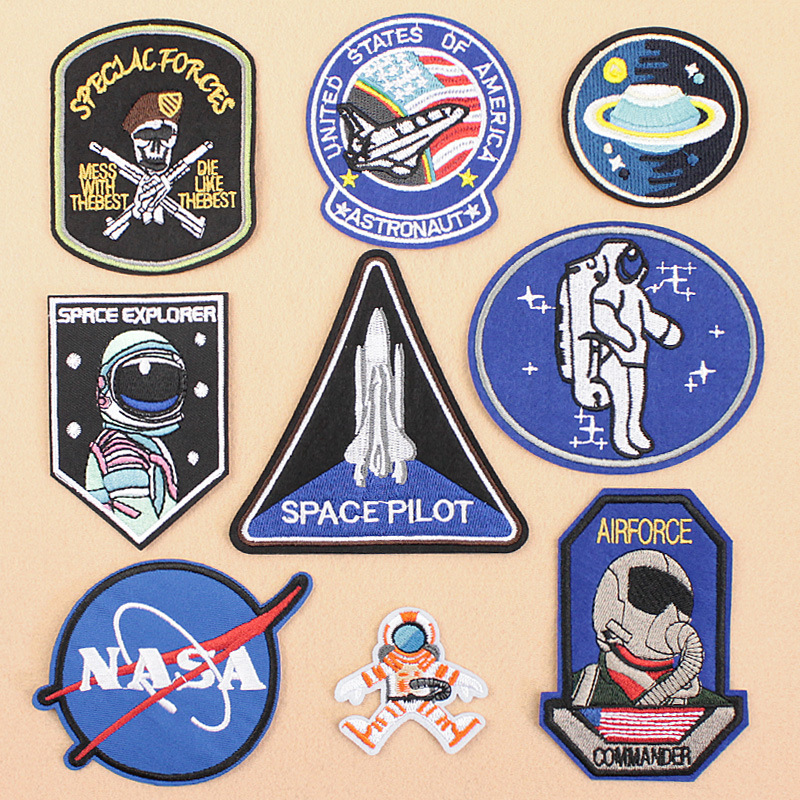 Wholesale nasa iron on patch nasa embroidery patches kids astronaut space patches badges