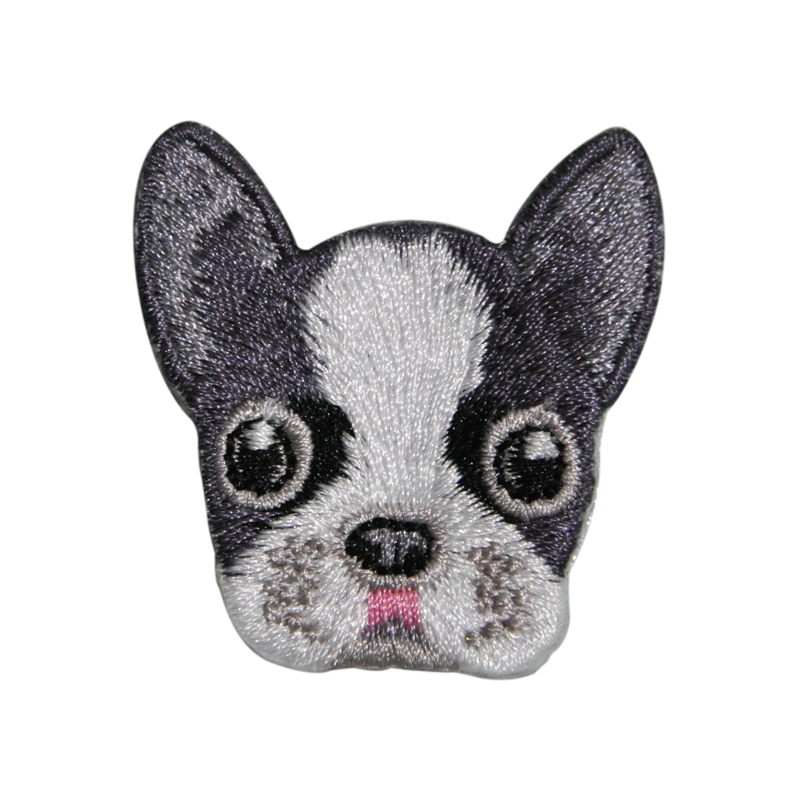 factory embroidered animals dogs patches with glue for kids