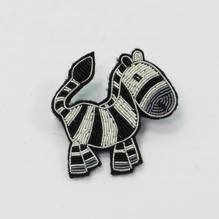 Colorful fish hand embroidery brooch badges Bullion wire fashion jacket Indian China embroidered patches for blazer cres