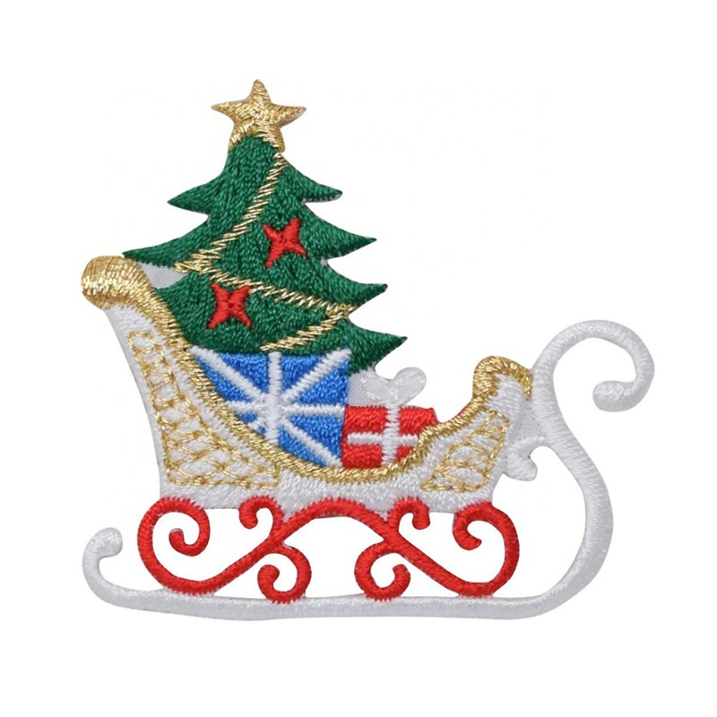 hot sell Santa's sleigh embroidery patch full embroidered patches with Christmas tree/Christmas bell made in China