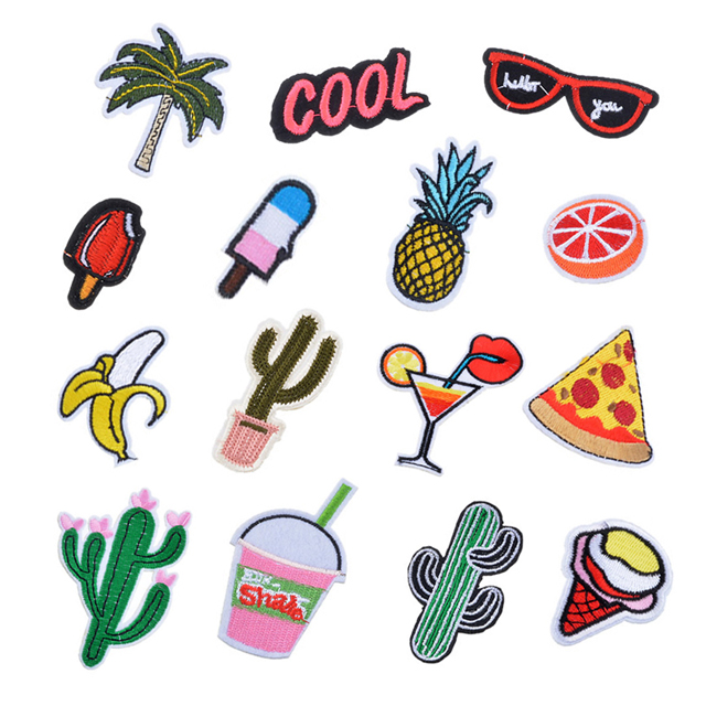 Hoomall Mixed Iron On Patches For Clothing Embroidery Patch Summer Fabric Badge Stickers For Clothes Jeans Decoratis/shoes
