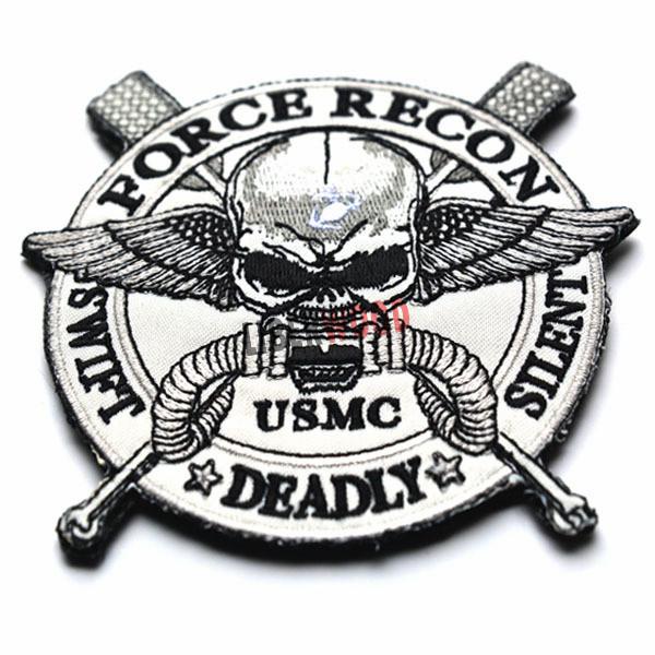 FORCE RECON .USMC MILITARY MARINE SWIFT DEADLY SILENT Skull Patch USMC FORCE RECON SWIFT DEADLY SILENT USMC US ARMY PATCH STOCK