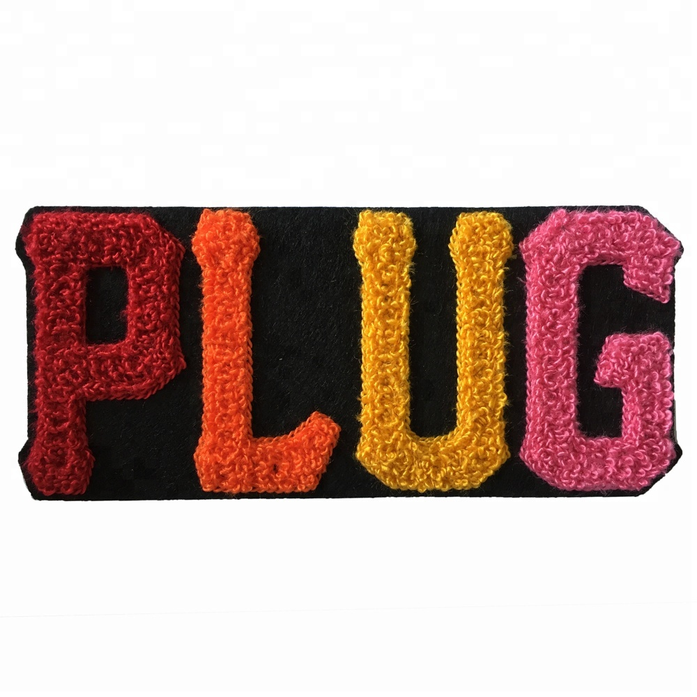 Factory customized OEM embroidery towel chenille letter patch embroidery