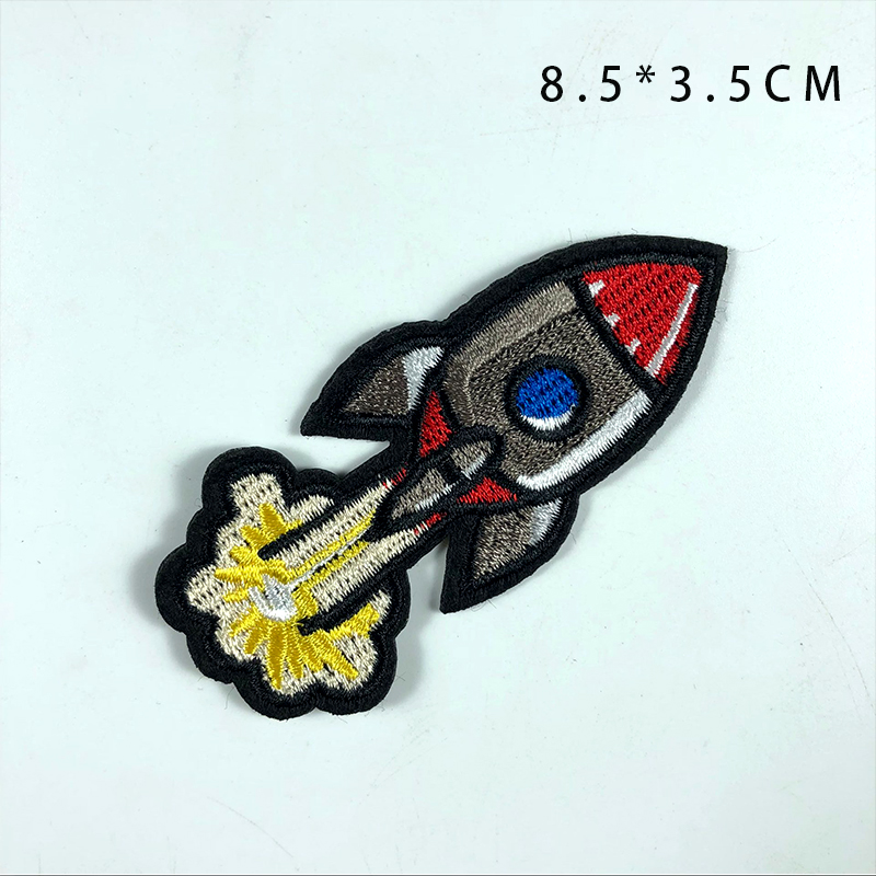 Hot selling high quality custom cartoon spaceship rocket logo embroidery patch