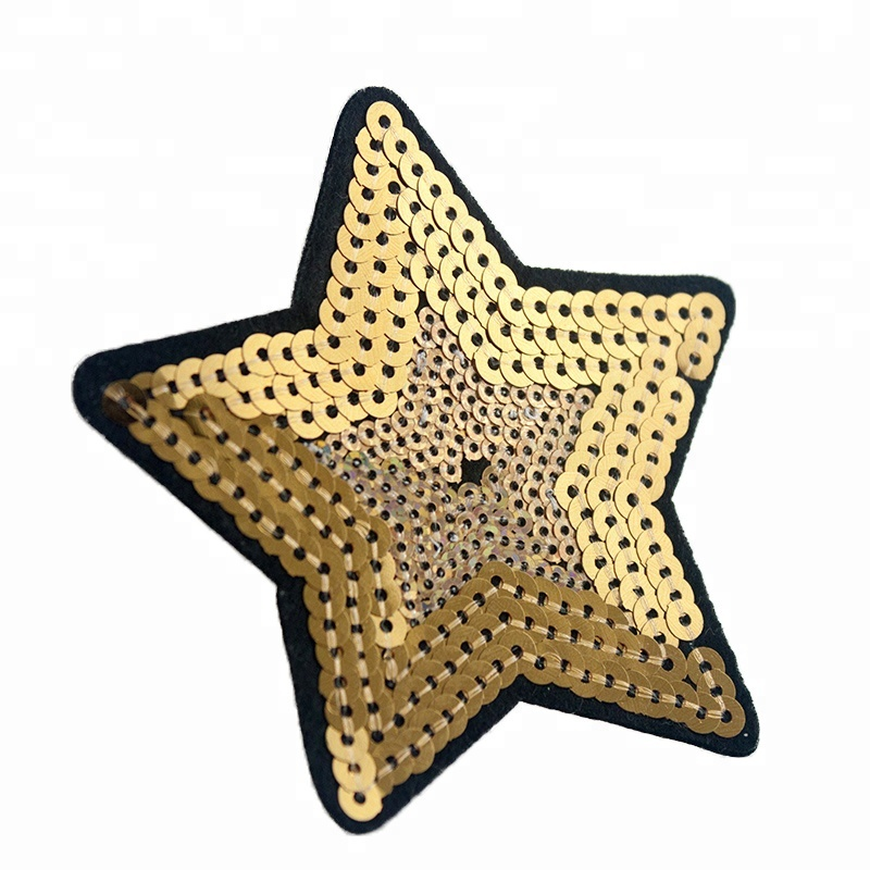 Wholesale Clothes Gift Star Shaped Customized Logo Shiny Sequin Custom Embroidery Patch