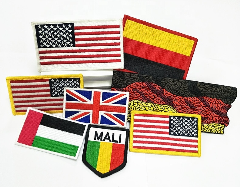 Custom embroidery american flag army patches, embroidered flag patch no minimum