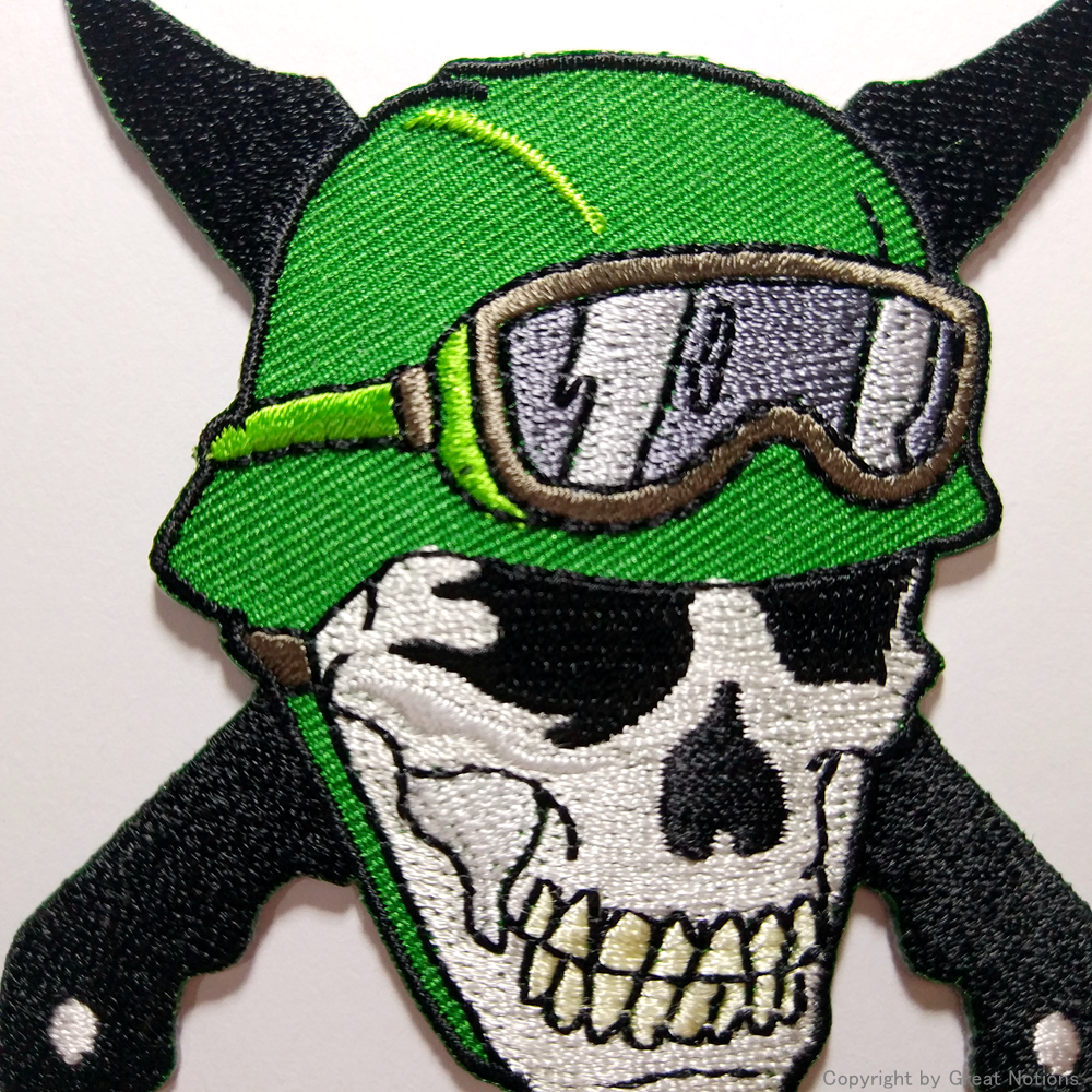 Custom heat seal embroidered patches embroidery MC skull patch for jacket