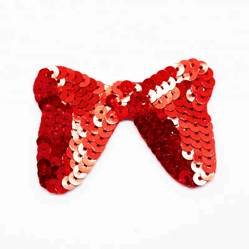 Bling Bling Christmas Bell Bowknot Embroidery Iron On Applique Patch