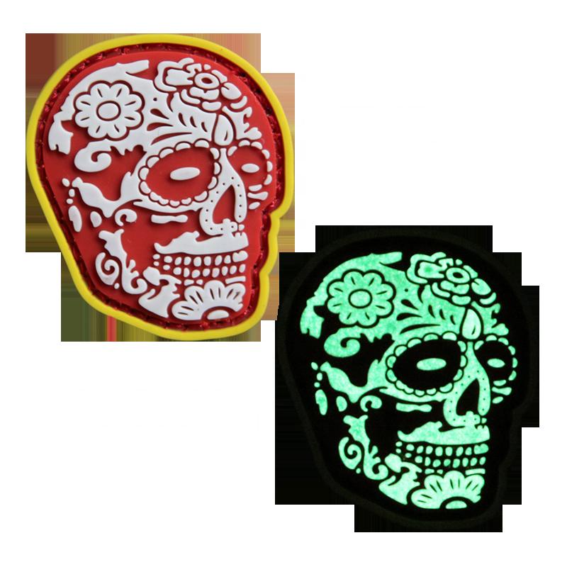 Wholesale Custom 2D/3D PVC Patch Skull Glow In The Dark Soft PVC Rubber Patch