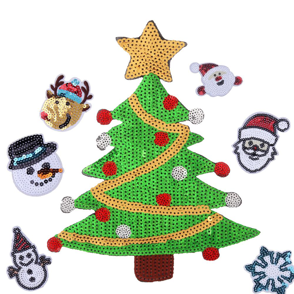 Factory Supply Garment Accessory Christmas Tree Snow Man Iron On Embroidery Christmas Sequin Patch