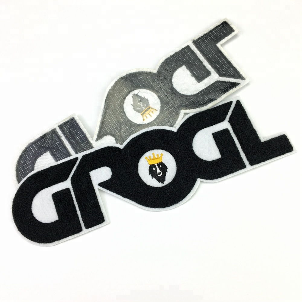 Hot selling custom letters shape iron on embroidery chenille patch