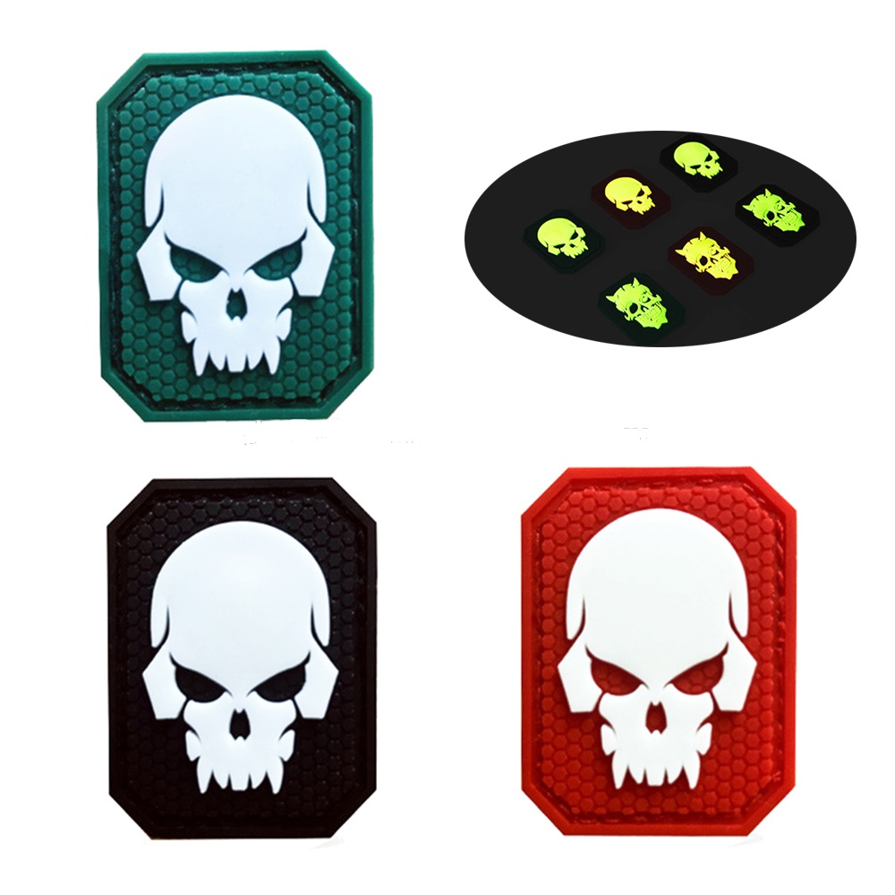 China factory 3D engraved sew on skull glow in the dark patch pvc patch for clothes