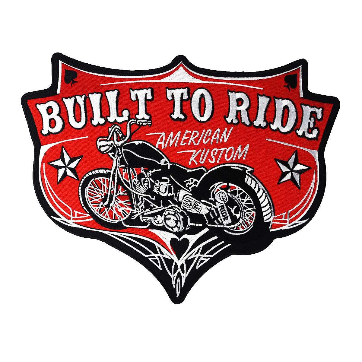 BUILT TO RIDE Large Back Size Motorcycle for Clothing Jacket Vest Iron on Sew on Biker Embroidered Patches