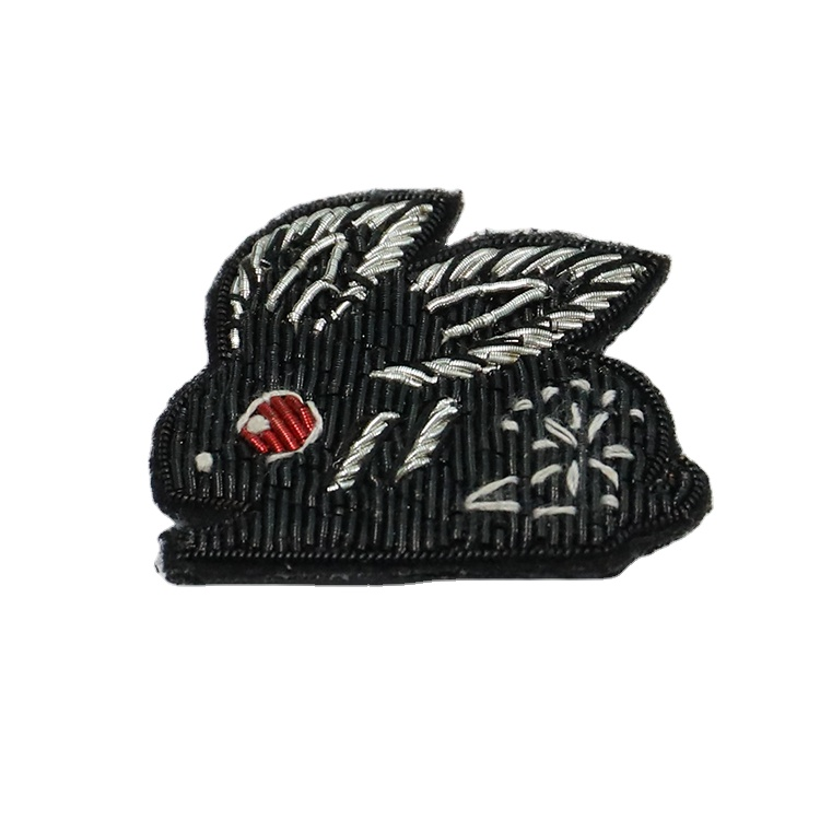 Rabbit magician hand embroidery brooch badges Bullion wire fashion jacket Indian China embroidered patches