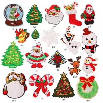 Hot sale high quality christmas patch Iron on custom embroidery patch for clothing kids patch variety