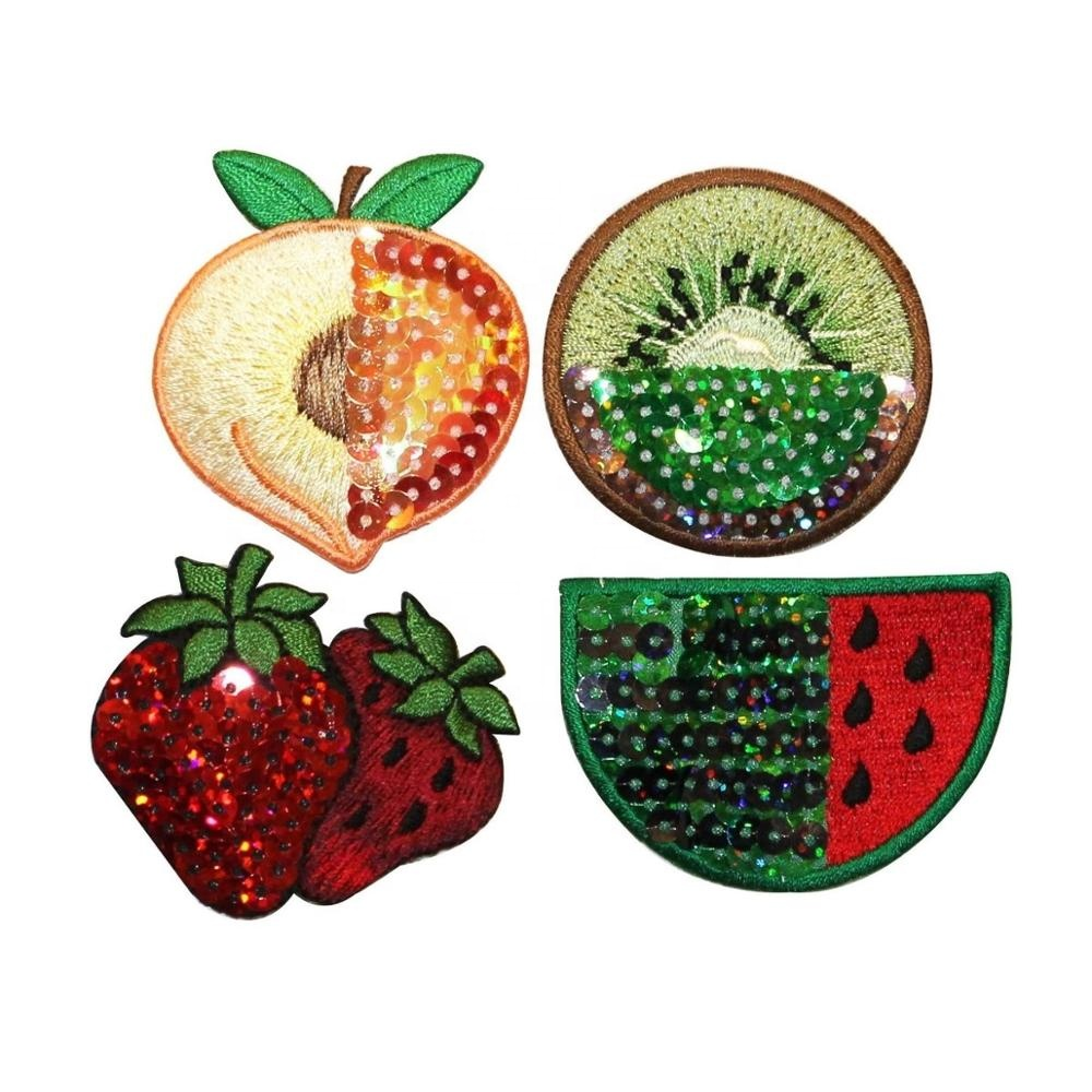 Fruit With Sequin Patches Summer Embroidered Iron On Applique Decoration For Clothing Wholesale