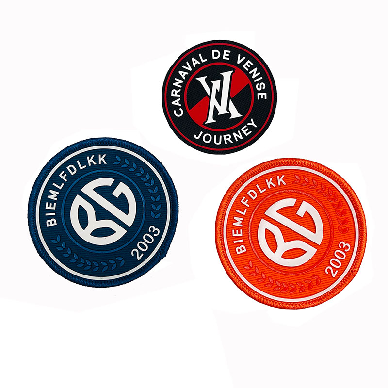 Wholesale Circle border Silk Screen 3D Print Label Woven Patch For Clothing