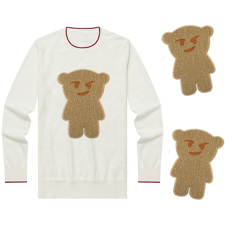 Factory direct selling custom chenille patches bear jacket patches