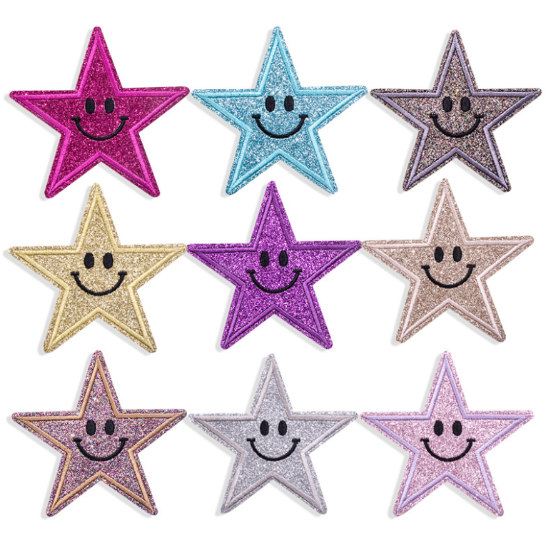 five-pointed star smile bling glitter embroidered glitter patch for cloth,pentagrams hologram glitter embroidered patch smiling