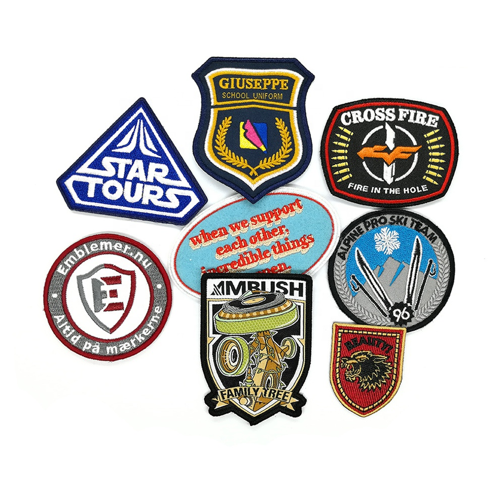 applique custom embroidered decorative woven patches for clothes