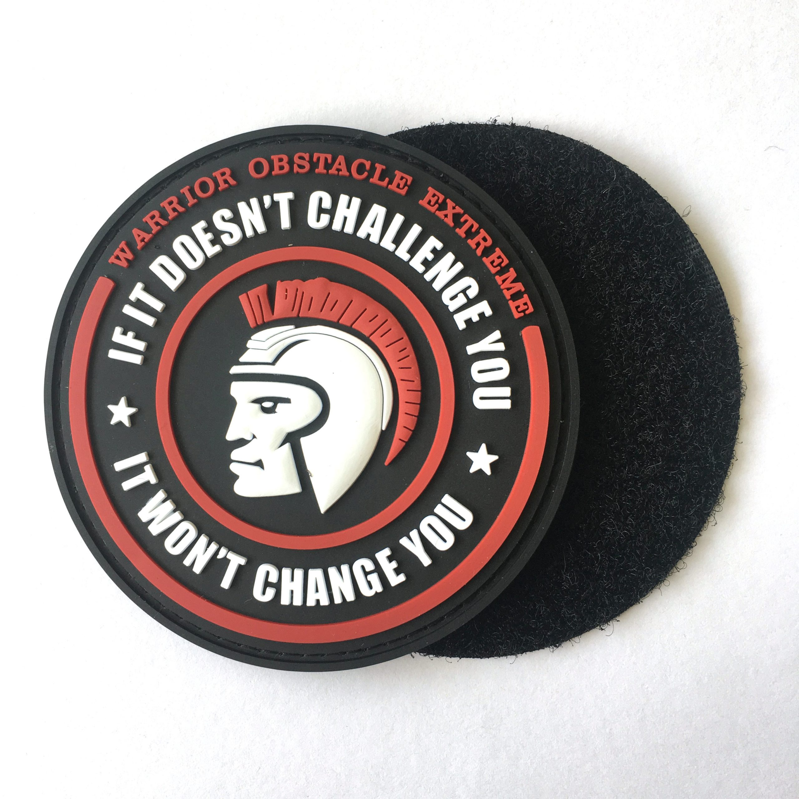 custom embossed pvc logo rubber hat patch with hoop and loop