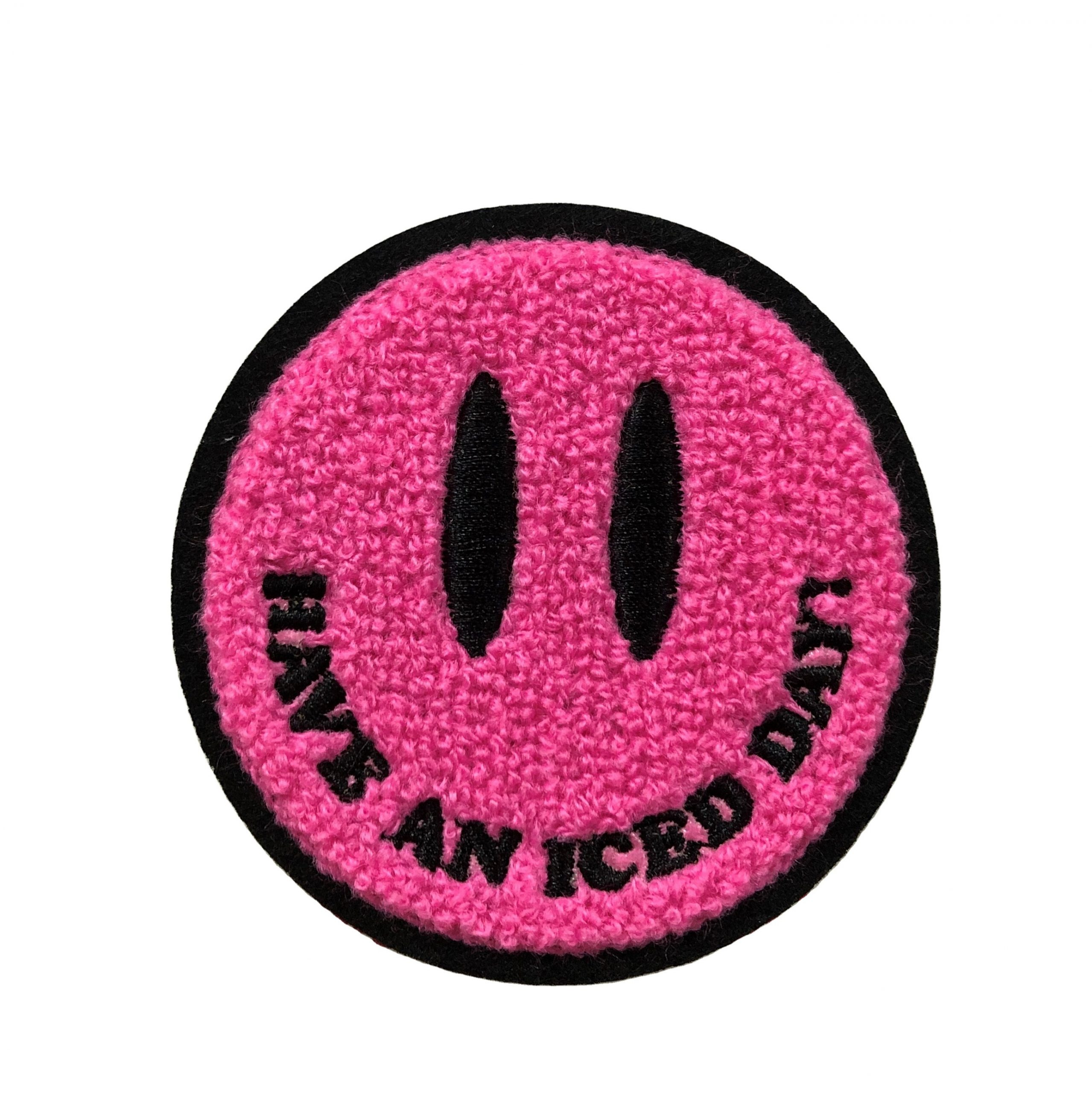 Custom design loving smile face embroidery iron on patch for clothing