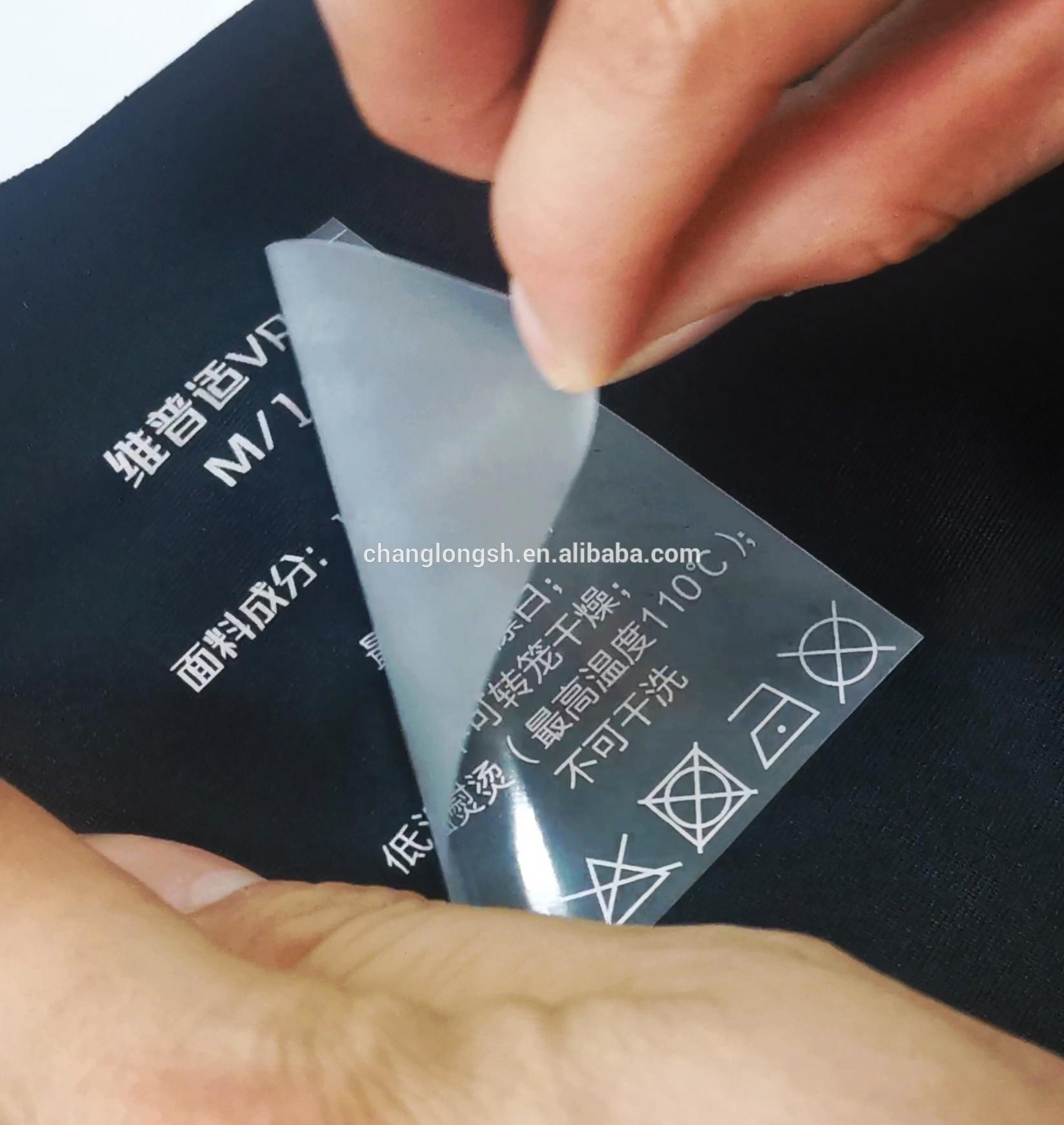 Custom iron on printable print film clothing label heat transfers for t-shirts transfer printing
