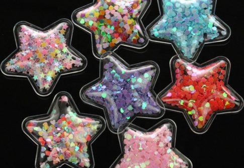 3D Plastic Transparent PVC Vinyl Sequins Patch for Kids Girls Hair Accessories